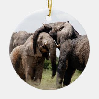 Africa Elephant Family Round Ceramic Decoration