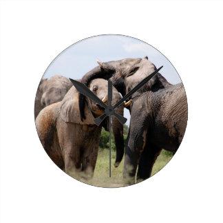 Africa Elephant Family Wall Clock
