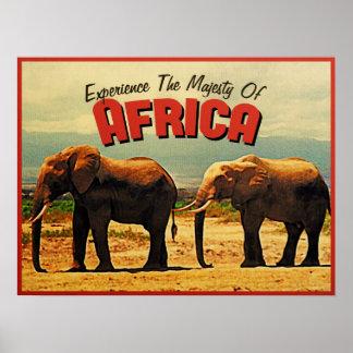 Africa Elephants Vintage Travel Print
