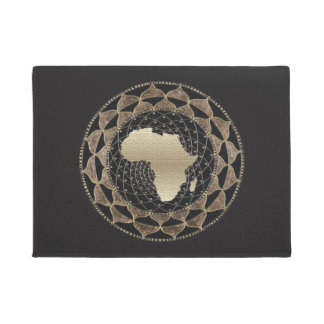 Africa in a Gold and Bronze  Motif Doormat