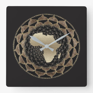 Africa in a Gold and Bronze Motif Square Wall Clock