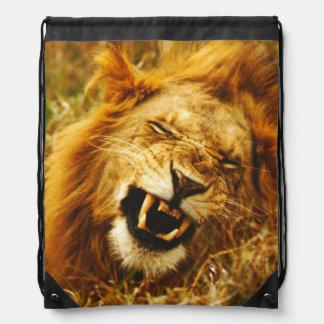 Africa, Kenya, Maasai Mara. Male lion. Wild Drawstring Bag