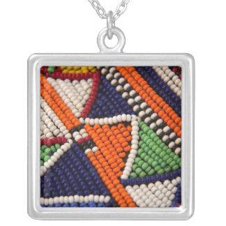 Africa, Kenya. Maasai Tribal Beads Silver Plated Necklace