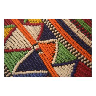 Africa, Kenya. Maasai Tribal Beads Wood Wall Art