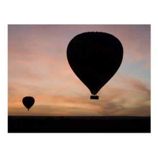 Africa, Kenya, Masai Mara. Two balloons glide Postcard