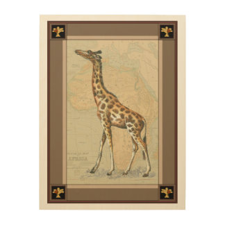 Africa Map and a Giraffe Wood Wall Art