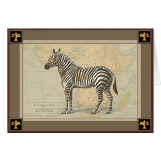 Africa Map and a Zebra Greeting Card