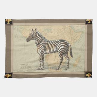 Africa Map and a Zebra Tea Towel