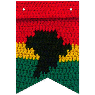 Africa Map Black Red Gold Green Bright Crochet Bunting