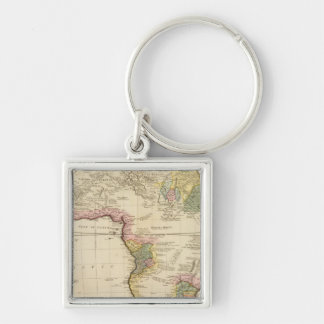 Africa map Silver-Colored square key ring