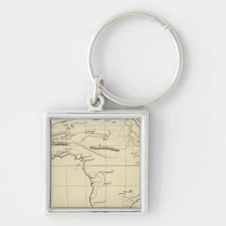 Africa outline Silver-Colored square key ring