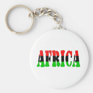 Africa Pan-African Flag Basic Round Button Key Ring