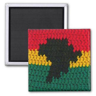 Africa Red Gold Green Black Map Crochet Print on Magnet