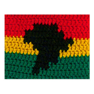 Africa Red Gold Green Black Map Crochet Printed on Postcard