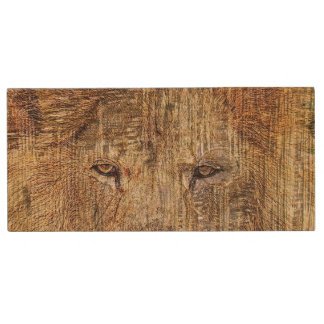 Africa safari animal wildlife majestic lion wood USB flash drive