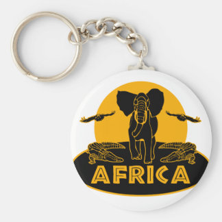 africa safari basic round button key ring