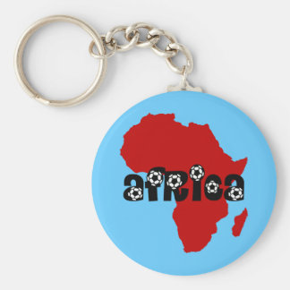 Africa soccer basic round button key ring