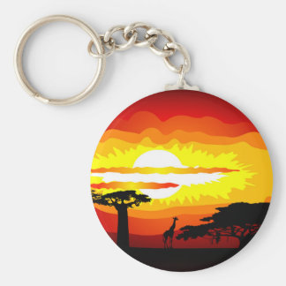 Africa sunset key chains