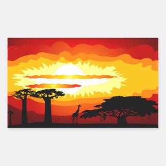 Africa sunset rectangular sticker