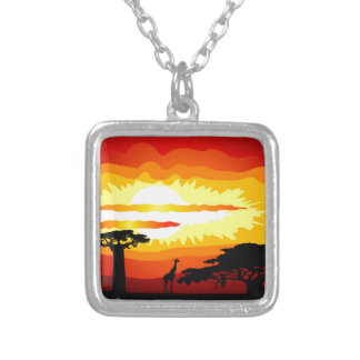 Africa sunset square pendant necklace