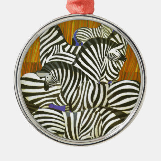 Africa Travel Poster with Zebras Silver-Colored Round Decoration