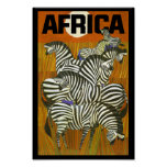 Africa Travel Posters Zebras