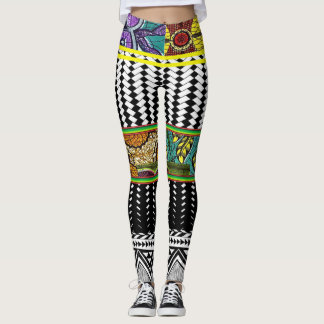African Abstract Style  Design Leggings