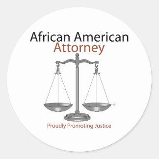 African America Attorney Round Sticker