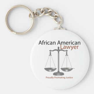 African America Lawyer Basic Round Button Key Ring