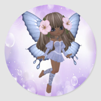 African American and Purple Fairy Classic Round Sticker