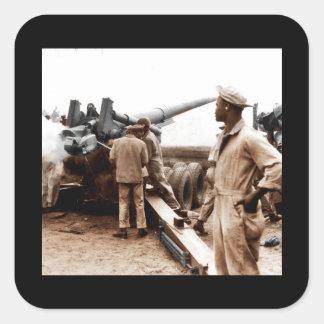 African American Artillerymen WWII Square Sticker