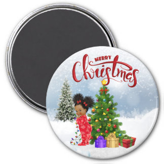African American Baby Christmas Magnet