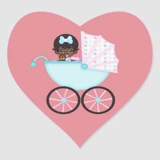 African American Baby Girl Pink Carriage Heart Sticker