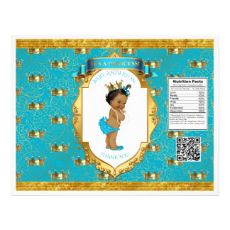 African American Baby Girl Teal Gold Chip Bag Flyer