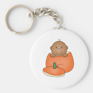 African American Baby in Pumpkin Basic Round Button Key Ring