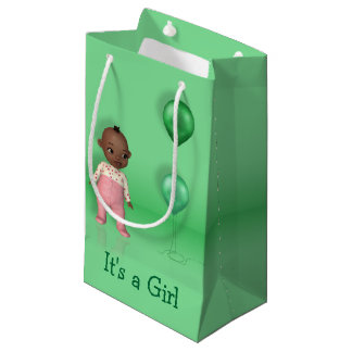 African American Baby Its a Girl Small Gift Bag