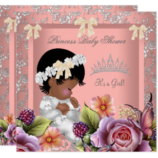 African American Baby Shower Girl Coral Pink Rose Card