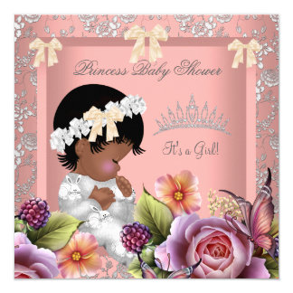 "African American Baby Shower Girl Coral Pink Rose 5.25"" Square Invitation Card"