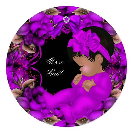African American Baby Shower Girl Purple Roses R3 Card