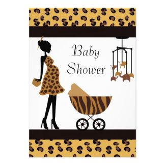 African American Baby Shower Invitation Safari