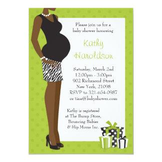 African American Baby Shower Unisex Green Zebra 5x7 Paper Invitation Card