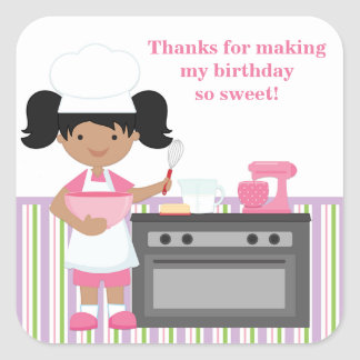 African American Baking Birthday Party Sticker