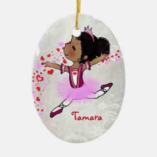 African  American Ballerina Personalized Christmas Ceramic Ornament