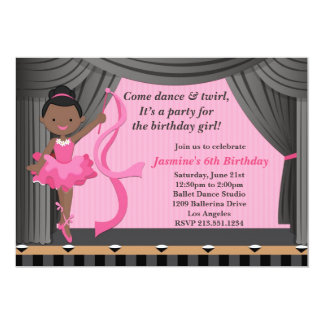 African American Ballet Dance Birthday Party Custom Announcements