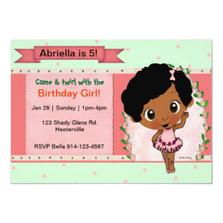 African American Ballet or Dance Birthday Party Invites