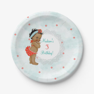African American Bathing Suit Baby Girl Lace 7 Inch Paper Plate