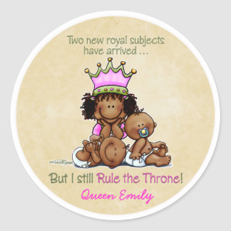 African American Big Sis of Twins Round Sticker