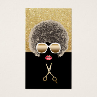 African American Black & Gold Hair Stylist Business Card
