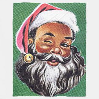 African American Black Santa Claus Christmas Fleece Blanket