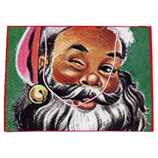 African American Black Santa Claus Christmas Large Gift Bag